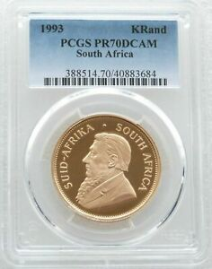 Click now to see the BUY IT NOW Price! 1993 SOUTH AFRICA GOLD PROOF KRUGERRAND 1OZ COIN PCGS PR70 DCAM