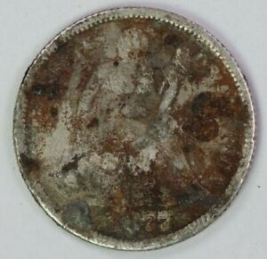 1877 P 10C SEATED LIBERTY DIME 90  SILVER RAW UNCERTIFIED US COIN ALBUM FILLER