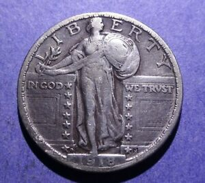 1918 D STANDING LIBERTY QUARTER VF