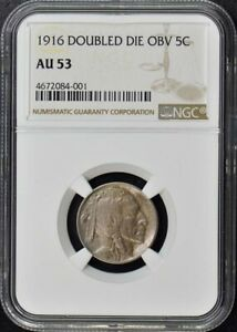 Click now to see the BUY IT NOW Price! 1916 DOUBLED DIE OBV BUFFALO NICKEL TYPE 2 5C NGC AU53