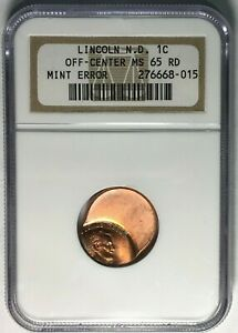 NGC GRADED LINCOLN NO DATE OFF CENTER MS 65 RD MINT ERROR PENNY   FREE SHIP