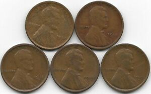 1918 1918D 1918S 1919D 1919S LINCOLN WHEAT CENT CENTS 5 COIN LOT