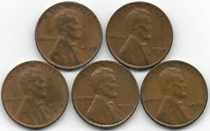 1938 1938D 1938S 1939D 1939S LINCOLN WHEAT CENT CENTS 5 COIN LOT