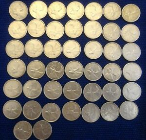 CANADA  44  CIRCULATED SILVER QUARTERS 1951 1968