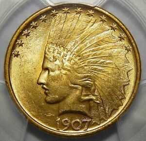 Click now to see the BUY IT NOW Price! 1907 PCGS MS64 NO MOTTO $10 INDIAN HEAD GOLD