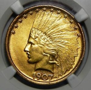 Click now to see the BUY IT NOW Price! 1907 NGC MS64 NO MOTTO $10 INDIAN HEAD GOLD   HILT COLLECTION