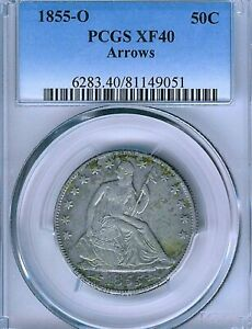 1855 O ARROWS SEATED LIBERTY HALF DOLLAR : PCGS XF40