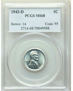 1943 D   STEEL   PCGS MS68   LINCOLN WHEAT CENT 1C TOP OF THE POPULATION REPORT