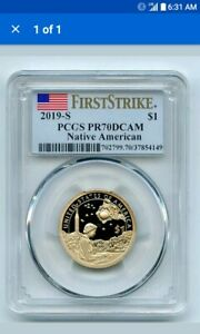2019 S $1 SACAGAWEA DOLLAR PCGS PR70DCAM FIRST STRIKE FLAG HOLDER