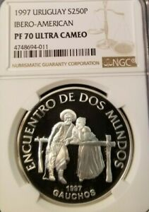 Click now to see the BUY IT NOW Price! 1997 URUGUAY S250P IBERO AMERICAN GAUCHOS NGC PF 70 ULTRA CAMEO TOP POP FINEST