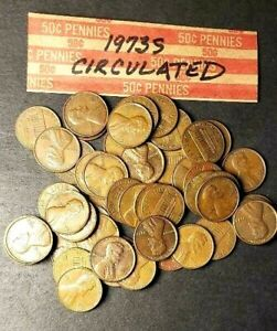 1973S LINCOLN PENNY ROLL  50 COINS  CIRCULATED