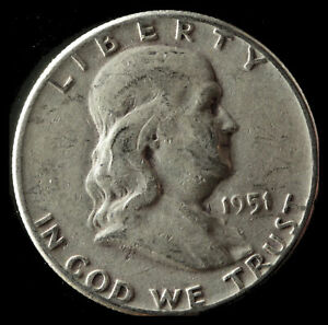 1951 P FRANKLIN 90  SILVER HALF DOLLAR SHIPS FREE. BUY 5 FOR $2 OFF