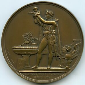 FRANCE 1811 BRONZE MEDAL ANDRIEU NAPOLEON KING OF ROMES BAPTISM EARLY RE STRUCK