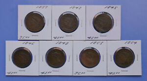 LOT OF 7   1837 54 YOUNG HEAD LARGE CENTS   FINE   FINE CONDITION