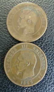 FRANCE 1853 10 CENTIMES COIN PLUS ANOTHER DATE UNKNOWN