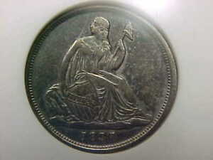 1837 SEATED LIBERTY DIME NO STARS SMALL DATE ANACS AU DETAILS TONED