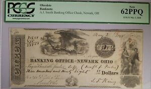 MAY 3 1848 NEWARK OHIO A.J. SMITH BANKING CHECK OBSOLETE BANKNOTE PCGS 62 PPQ