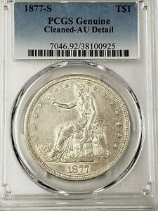 1877 S US TRADE DOLLAR PCGS AU DETAIL CLEANED