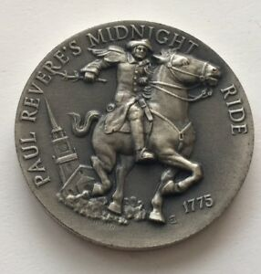 LONGINES SYMPHONETTE PAUL REVERES MIDNIGHT RIDE 1775 STERLING SILVER COIN