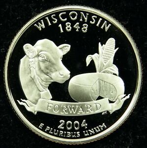2004 S DEEP CAMEO CLAD PROOF WISCONSIN QUARTER  C02