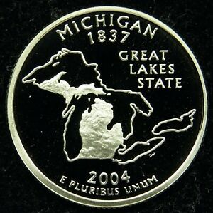 2004 S DEEP CAMEO CLAD PROOF MICHIGAN QUARTER  C01