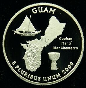 2009 S DEEP CAMEO CLAD PROOF GUAM QUARTER  C01