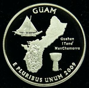 2009 S DEEP CAMEO CLAD PROOF GUAM QUARTER  C02