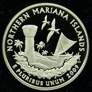 2009 S DEEP CAMEO CLAD PROOF NORTHERN MARIANA ISLANDS QUARTER  C012
