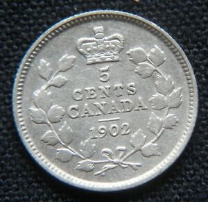 CANADA VINTAGE SILVER COIN: 5 CENTS 1902 FOREIGN COIN