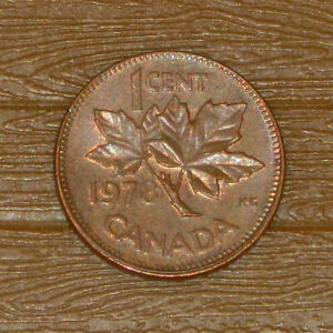 1978 QUEEN ELIZABETH II CANADIAN CANADA MAPLE LEAF PENNY 1 CENT COIN CIRCULATED
