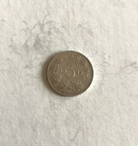 1893 3 PENCE TICKEY PAUL KRUGER PRE BOER WAR ZAR COIN FROM SOUTH AFRICA