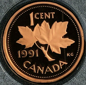 1991 BU FROSTED PROOF CANADA PENNY FROM MINT SET 1 CENT 1C CANADIAN UNC