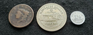 3 COIN/TOKEN LOT CORONET LARGE CENT HAWEATER DOLLAR TOKEN RETAILERS OCCUP TOKEN