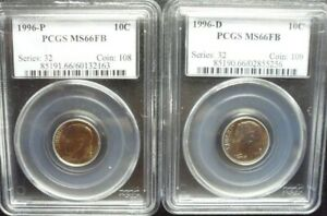 1996 P/D  SET OF ROOSEVELT DIMES  PCGS  MS 66FB  OLD BLUE HOLDERS