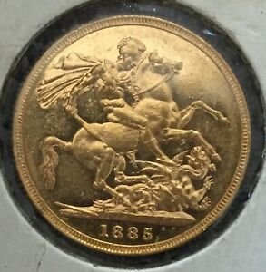 1885 M FULL SOVEREIGN GOLD COIN GREAT GIFT GEF