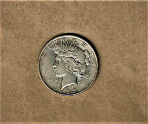 1923 PEACE DOLLAR IN .900 SILVER COMPOSITION AT A.U.   CONDITION
