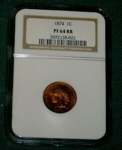 NGC 1874 INDIAN CENT PROOF 64 RB RED BROWN 1C PENNY