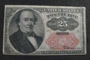 US FRACTIONAL CURRENCY 25 CENTS SERIES 1874 RETAINS CRISPNESS LINEN THREADS