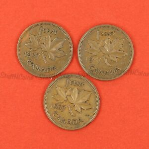 LOT OF 3 CANADA ONE CENT PENNYS 1937 KGVI