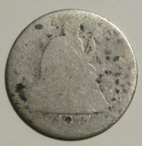 1877 SEATED LIBERTY DIME 10 CENT US COIN