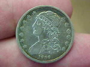 1838 CAPPED BUST QUARTER FULL RIM DATE LIBERTY LETTERING NICE FEATHERS TONED