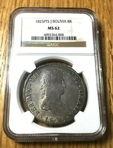Click now to see the BUY IT NOW Price!  1825 J BOLIVIA 8 REALES SILVER UNCIRCULATED PESO POTOSI NGC MS 62 TOP POP