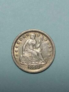 1847 LIBERTY SEATED SILVER HALF DIME 5C XF DETAILS   FULL 'LIBERTY'