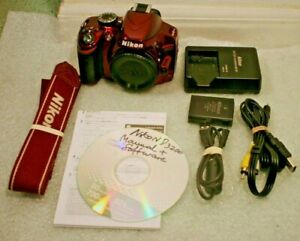 USED NIKON D3200 24.2 MP DIGITAL SLR BODY ONLY RED EXCELLENT