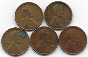 1930D 1930S 1931 1932 1932D LINCOLN WHEAT CENT CENTS 5 COIN LOT