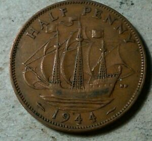 GREAT BRITAIN 1/2 HALF  PENNY 1944 GEORGE VI SHIP COIN WWII PERIOD