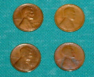 4 NICE KEY DATE 1909 S 1914 D 1922 D 1931 S LINCOLN WHEAT CENT 1C