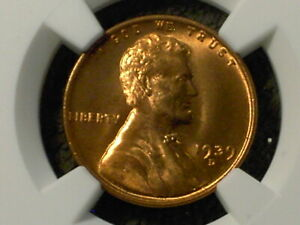 1939 D LINCOLN CENT MS66 RD NGC .OUTSTANDING RED .CHECK THIS ONE OUT