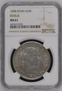 Click now to see the BUY IT NOW Price! 1858 SPAIN SEVILLE 20 REALES LARGE SILVER CROWN NGC MS 61 UNCIRCULATED  GEM