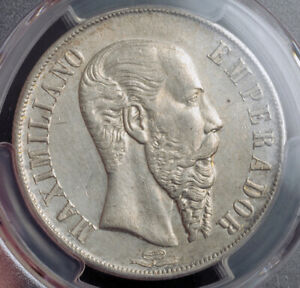 Click now to see the BUY IT NOW Price! 1866 MEXICO  EMPIRE  MAXIMILIAN I OF AUSTRIA. LARGE SILVER PESO COIN. PCGS AU